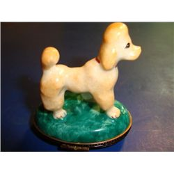 Authentic hand painted poodle Limoges box signed
