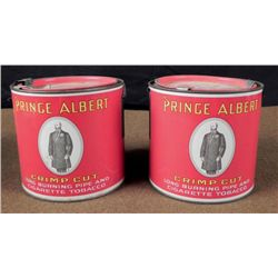 1926 PRINCE ALBERT CRIMP CUT BURNING PIPE TOBACCO CANS
