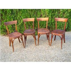 Set of 4 old French Parisian Bistro chairs circa 1920