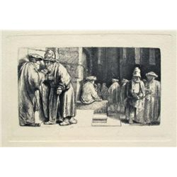 Rembrandt JEWS IN THE SYNAGOGUE Etching