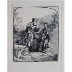Rembrandt ABRAHAM & ISAAC Etching