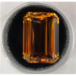 36.70 CT CITRINE GOLDEN YELLOW EMERALD CUT GEMSTONE