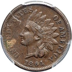 1864 Indian Head 1C. Bronze, with L