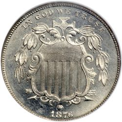 1876 Shield 5C NGC MS65