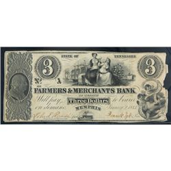 Memphis, TN. Farmers & Merchants Bank of Memphis. $3.00