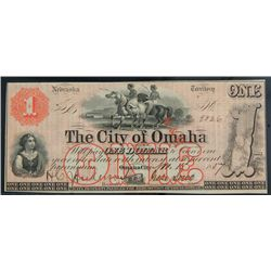 Omaha City, NE - City of Omaha. $1.00 Nov. 15, 1857. PC