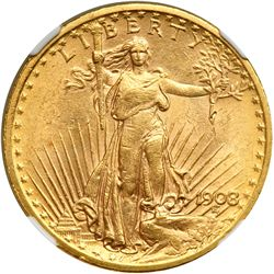 1908 $20 St. Gaudens. No Motto NGC MS62