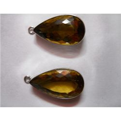 Natural 41.70 ctw. Citrine Pearcut Earrings .925 Sterli