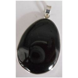 Natural 54.85 ctw Black Onex Oval Pendant .925 Sterling