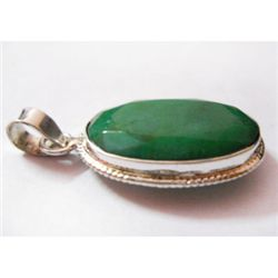 Natural 26.75 ctw Emerald Oval Pendant .925 Sterling