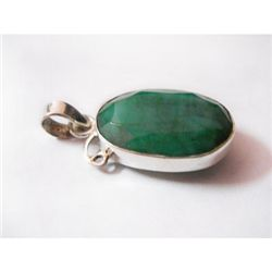 Natural 26.55 ctw Emerald Oval Pendant .925 Sterling