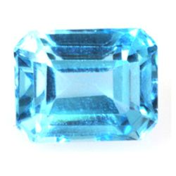 Natural 3.21ctw Blue Topaz Emerald Cut 7x9 Stone