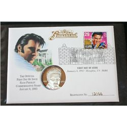 1993 Elvis Presley First Day Issue Postal Stamp W/Elvis Presley Silver Round; .999 Fine Silver 1 Oz.
