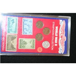 World War II Lincoln Cent Mint Collection W/Postal Stamp Collection