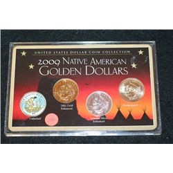 2009 Native American  Sacagawea  Golden Dollars; Colorized, 24K Gold Enhanced, Genuine Silver Enhanc