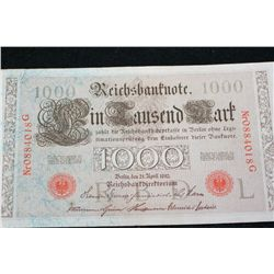 1910 German 1,000 Finfausend Mark Foreign Bank Note