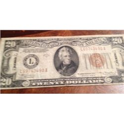1934 Series WWII $20 Hawaii Silver Certificate Emergency Currency