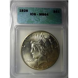 1926 PEACE DOLLAR ICG MS64