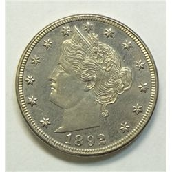 1892 V Nickel Proof CH Proof 64 2748 minted, deep mirror surfaces