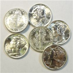 6 Highgrade Choice/Gem BU Mercury Dimes