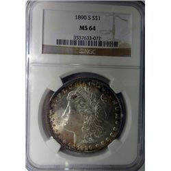 1890-S MORGAN DOLLAR NGC MS64 NICE!