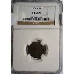 1908-S INDIAN HEAD CENT NGC F 15 BN