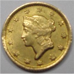 1849-D $1 Gold Rare Dahlonega Mint (open wreath very scarce)