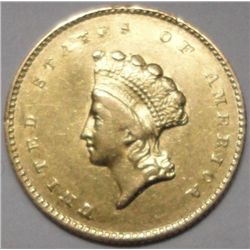 1855-O $1 Gold Scarce O Mint,New Orleans Lustrous AU55 Rarely seen in high grade