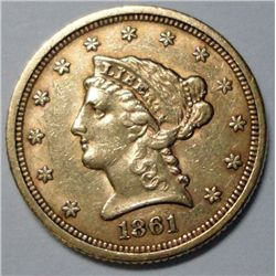 1861 $ 2 1/2 Gold Very Scarce T 1, Reverse of 1861, Ch AU 50+
