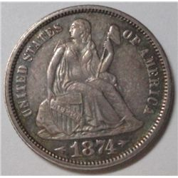 1874 Seated Dime, with arrows attractive Ch BU 62, beautiful original tone