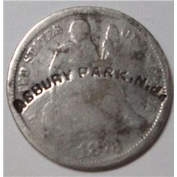 1873 Dime closed 3, scarce counterstamp (Asbury Park, NJ)