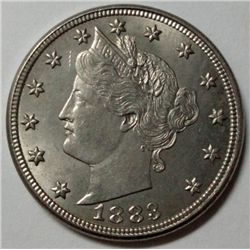 1883 V Nickel with cents variety, Ch Bu 65, beautiful!