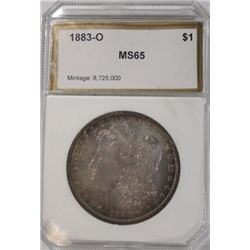 1883O Morgan $  PCI 65 and graded correctly with great rose/blue/brn