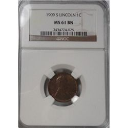 1909S Lincoln penny  NGC61BN