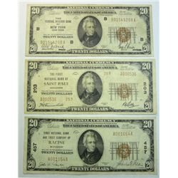 3  1929  $20 National currency notes--NY- St Paul-Racine F/VF