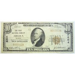 1929  $10 National currency note VG  Arcola IL