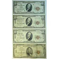 3  1929  $10 National currency notes--Chicago-Cleveland-Rochester  Fine