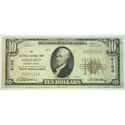 1929  $10 National currency notes  Sheffield PA  Fine