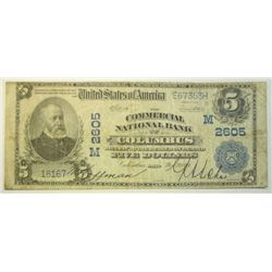 1902 $5   National Currency  Commercial bank Columbus OH  VG
