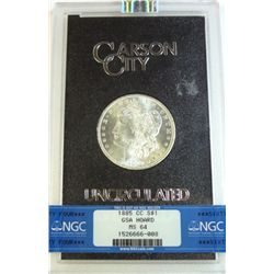 1885-CC MORGAN DOLLAR GSA BOX AND CERT NGC MS-64