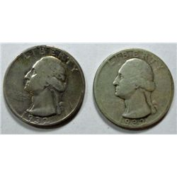 2  1932S Washington quarters G/VG