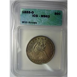 1855-O SEATED HALF DOLLAR ICG MS63 100% ORIGINAL, SHARP STRIKE, TONS OF LUSTRE U
