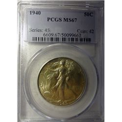 1940 WALKING LIBERTY HALF DOLLAR PCGS MS67 SUPER GEM!