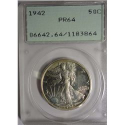1942 WALKING LIBERTY HALF DOLLAR PCGS PR64 RATTLER HOLDER