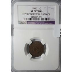 1866  NGC  XF environmental damage Indian penny.