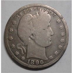 1896S Barber quarter  full rim good