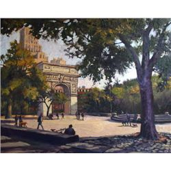 Michele Byrne, Washington Square, Oil on Canvas