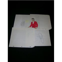 Karate Kid Animation Cell & Pencil drawings of Quake, Captain Marvel and Quick Draw McGraw.