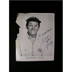 Andy Griffith Show George Lindsey Signed Headshot