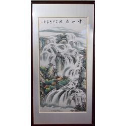 Framed Chinese Watercolour on Paper: Waterfall
